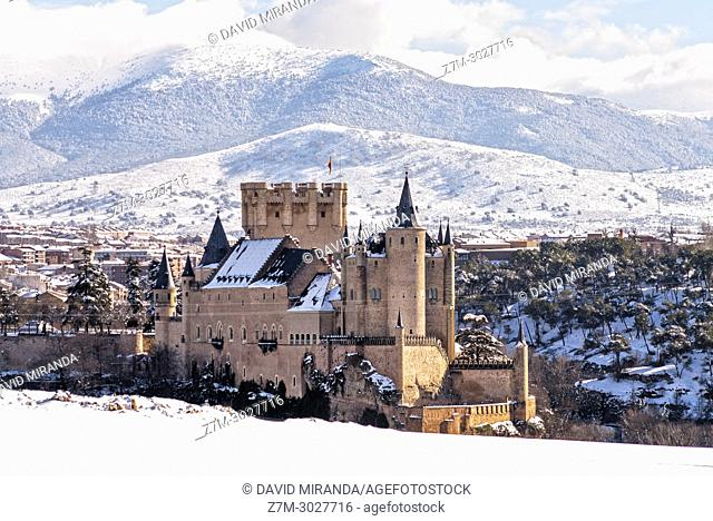 Alcázar de Segovia, snow-covered. Castile-Leon, Spain