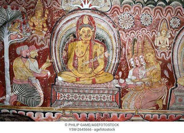 Murals within the Buddhist cave temples at Dambulla, Sri Lanka