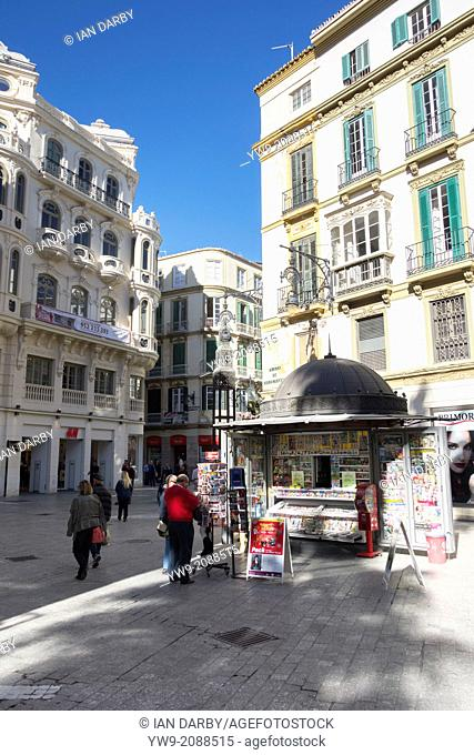 Kiosk selling newspapers in Malaga city centre Spain