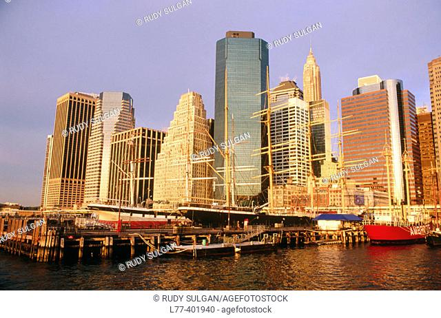 Pier 17 and skyscrapers in Lower Manhattan, New York City. USA