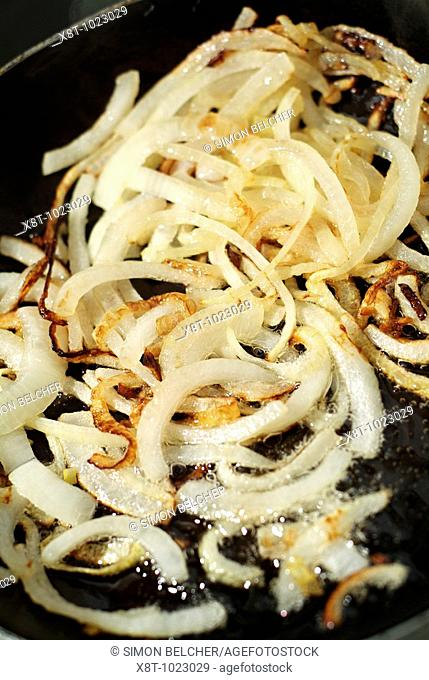 Onions Frying in a Pan