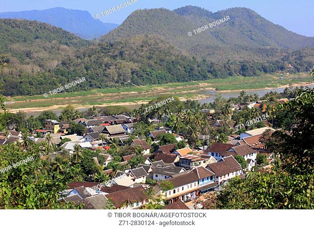 Laos, Luang Prabang, general view, aerial view,