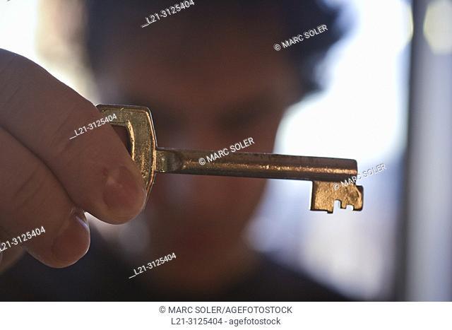Man holding key
