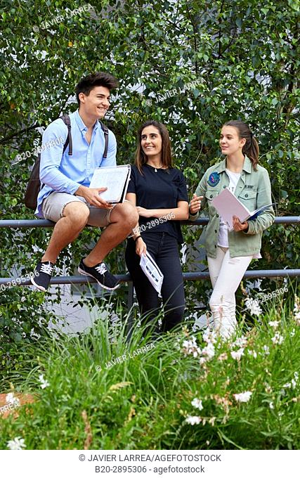 Students on campus. College. School of Business Studies. University. Donostia. San Sebastian. Gipuzkoa. Basque Country. Spain
