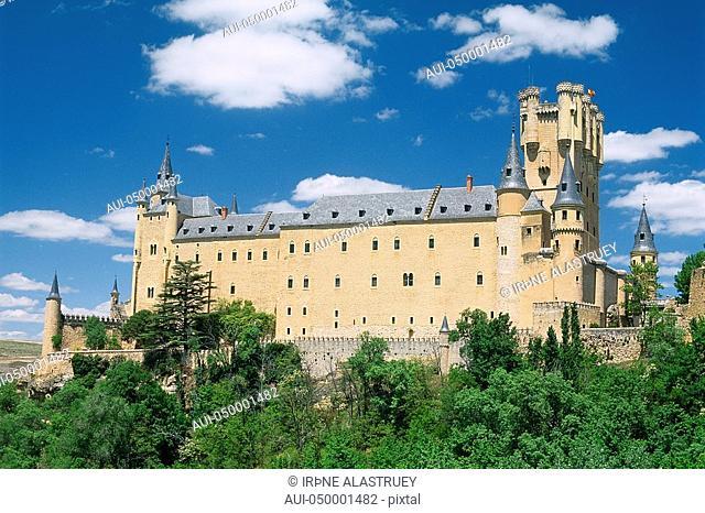 Spain - Madrid neighbourhood - Segovia - The Alcazar - Castle - rising stone fortification