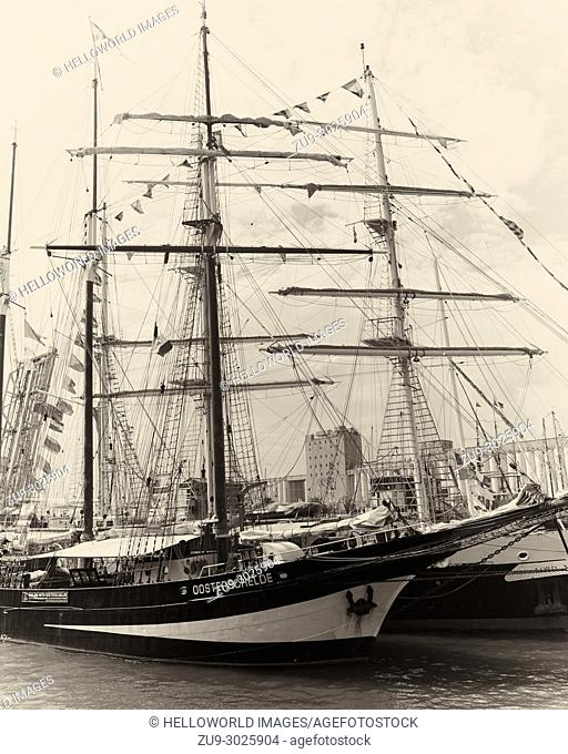 Oostershelde a Dutch 3 masted topsail schooner built in 1918 taking part in the Rendez-vous 2017 Tall Ships Regatta, Quebec, Canada