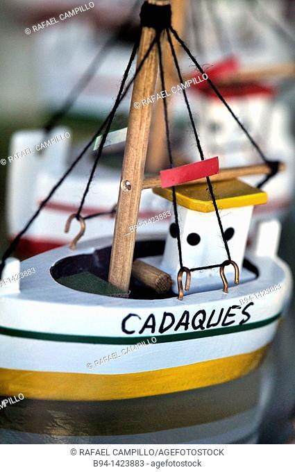 Cadaqués souvenirs. Town near Cap de Creus peninsula, on the Costa Brava of the Mediterranean. Alt Empordà comarca, Girona, Catalonia, Spain