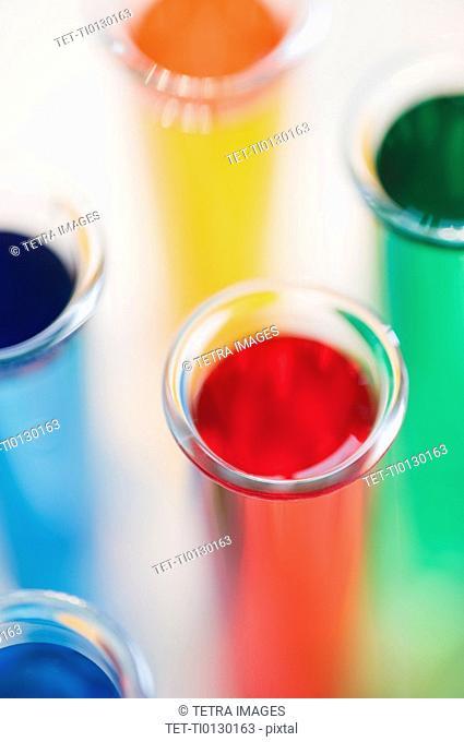 Multi-colored liquids in vials