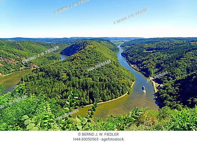 Vantage point Cloef, Saar loop, river, the Saar, Orscholz Germany