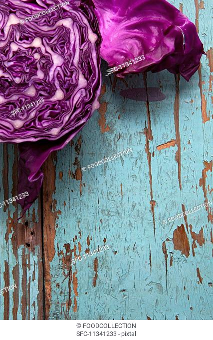 Red cabbage on a rustic wooden board