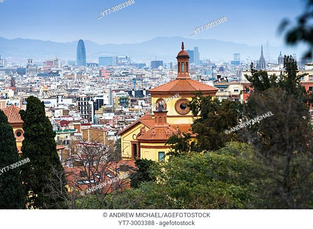View city skyline from the Museum of Arts on mount montjuich. Catalonia, Spain. Europe