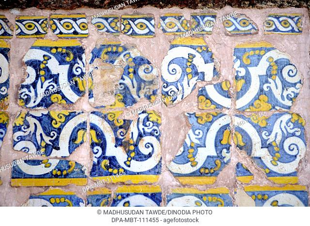 Azulejos type of tinglazed ;  Ceramic tiles used in the church of St. Augustine ; Portuguese architecture ; Ornamental art ; Unesco world heritage site ; Old...