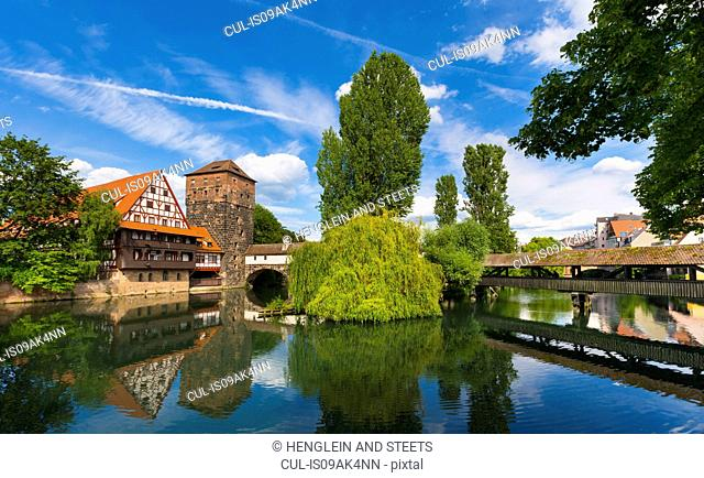 View of Henkersteg bridge and Pegnitz river, Nuremberg, Bavaria, Germany