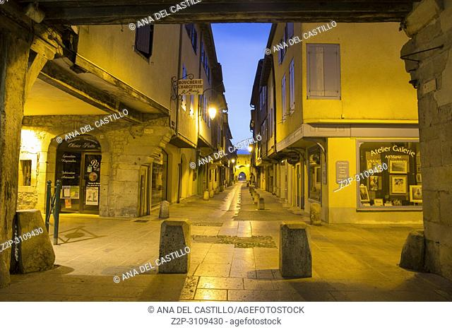 Mirepoix. France: Medieval bastide of Mirepoix in Ariège,Midi-Pyrénées region of. France. Half-timbered houses dating from the Middle Ages surround the square