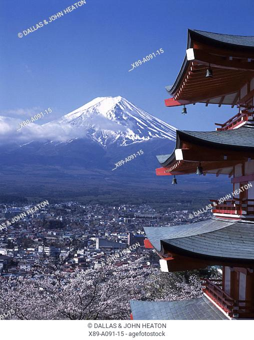 Japan, Yamanashi, Mount Fuji and Churei Tower
