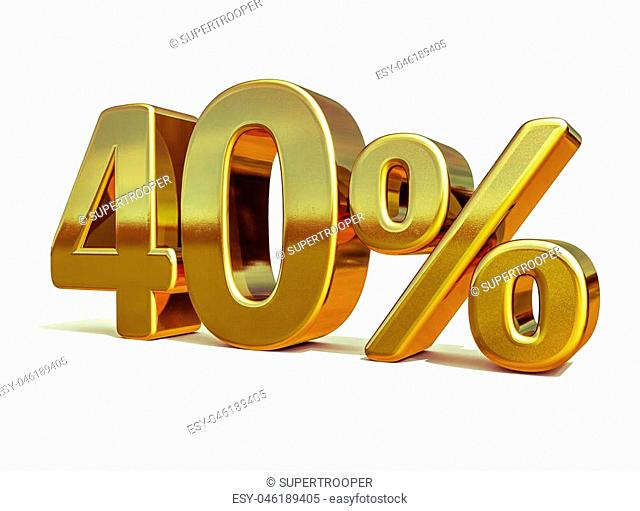 Gold Sale 40%, Gold Percent Off Discount Sign, Sale Banner Template, Special Offer 40% Off Discount Tag, Forty Percentages 40 Sticker, Gold Sale Symbol