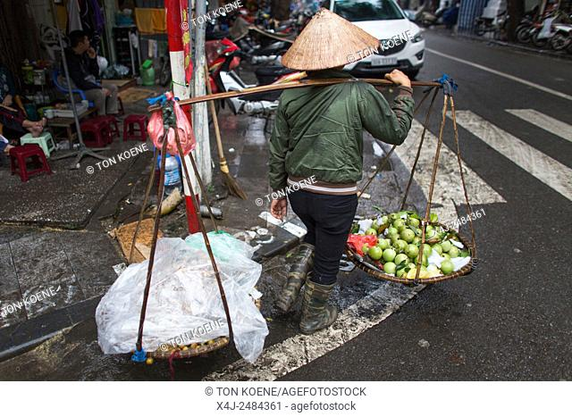 street vendor in Hanoi, Vietnam vegetables, vegetable, fruit, fruits, lemon, lemons, Guava Fruit