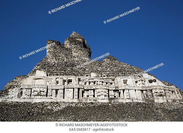 Stucco Frieze, Castillo, Xunantunich Mayan Ruins, outside San Ignacio, Belize