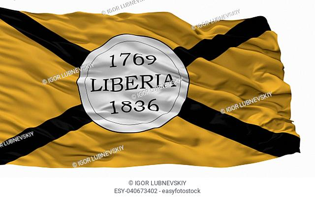 Liberia City Flag, Country Costa Rica, Isolated On White Background