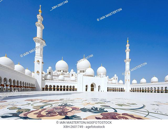View of ornate courtyard of Sheikh Zayed Grand Mosque in Abu Dhabi United Arab Emirates