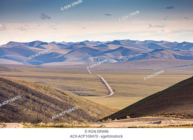 Dempster Highway view from the Wright Pass at the Yukon and Northwest Territories border in northern Canada