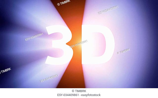 """Radiant light from the symbol """"""""3D"""""""""""""""""""""""
