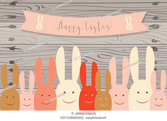 Happy Easter cards with Easter bunnies