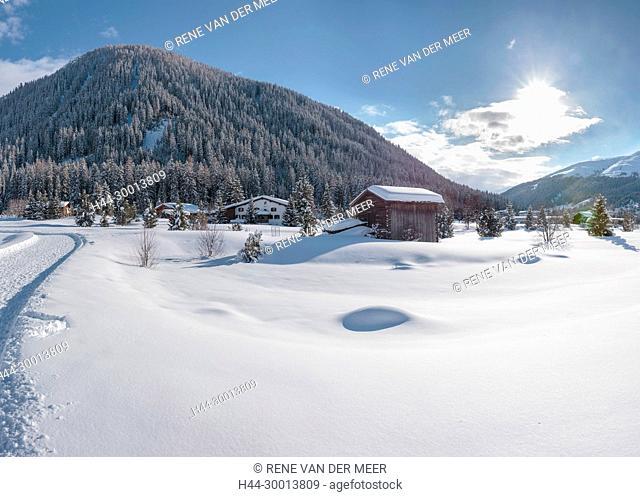 The snowed under golf course, Davos, Graubünden, Switzerland