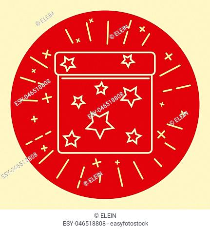 Square gift box icon in thin line style. Shining present box with stars in round frame