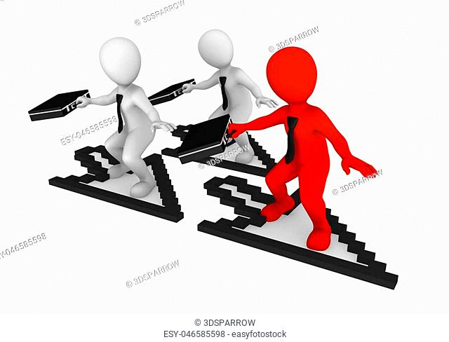 3d white small business people with mouse cursor. 3d rendered illustration with small people