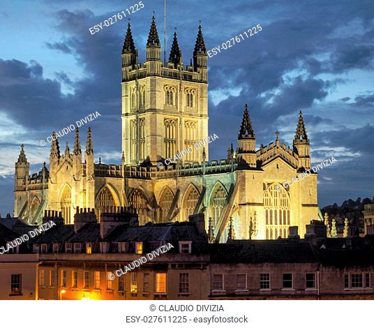 The Abbey Church of Saint Peter and Saint Paul (aka Bath Abbey) in Bath, UK at nighttime