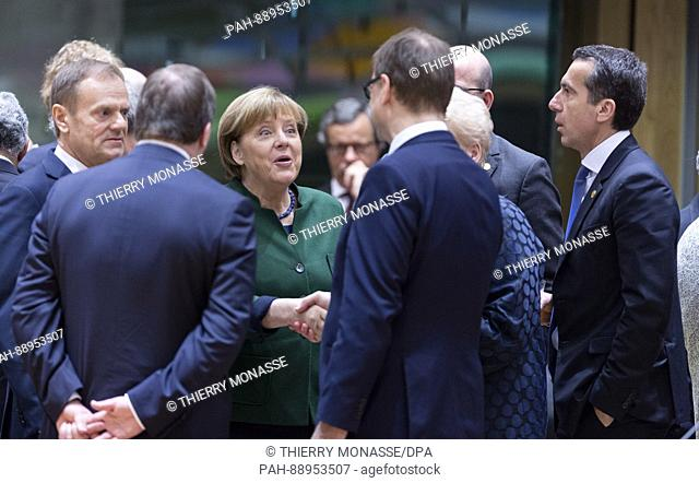 March 10, 2017. Brussels, Belgium: From Left: President of the European Council Donald Franciszek Tusk is talking with the Swedish Prime Minister Kjell Stefan...