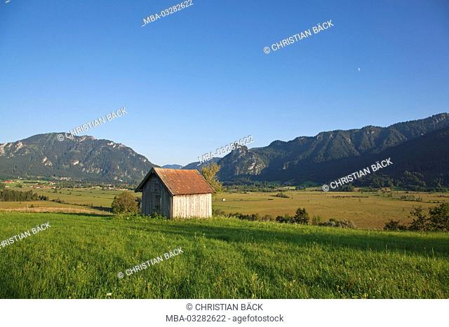 View in Ammer valley, Oberammergau, Upper Bavaria, Bavarians, Germany