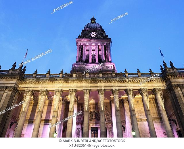 Lights on Leeds Town Hall at dusk at Christmas The Headrow Leeds West Yorkshire England