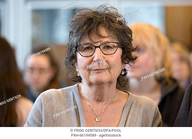 Joint plaintiff Judith Kalman seen in the courtroom during the trial against former Auschwitz SS-guard Reinhold Hanning in Detmold, Germany, 26 February 2016