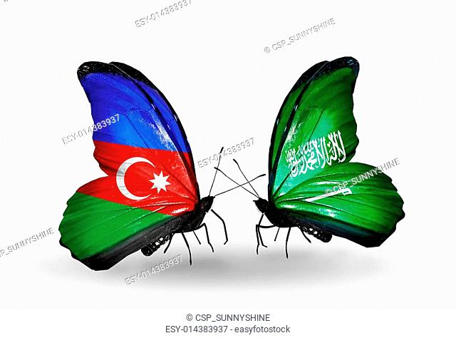 Two butterflies with flags on wings as symbol of relations Azerbaijan and Saudi Arabia