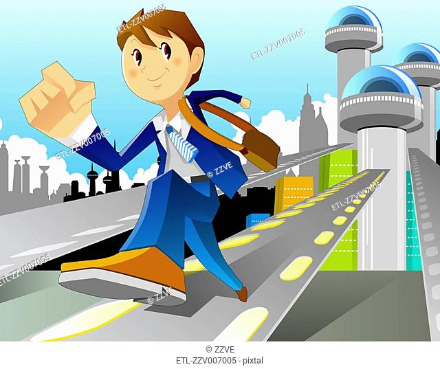 Boy Running from city