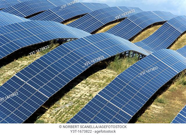 Europe, France, Alpes de Haute Provence region Puimichel, the Mees Solar Farm, solar panels