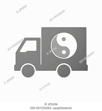 Illustration of an isolated delivery truck icon with a ying yang