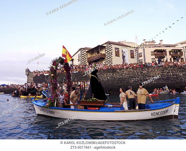 Embarcacion de la Virgen del Carmen, religious festivity with water procession and street party, Puerto de la Cruz, Tenerife Island, Canary Islands, Spain