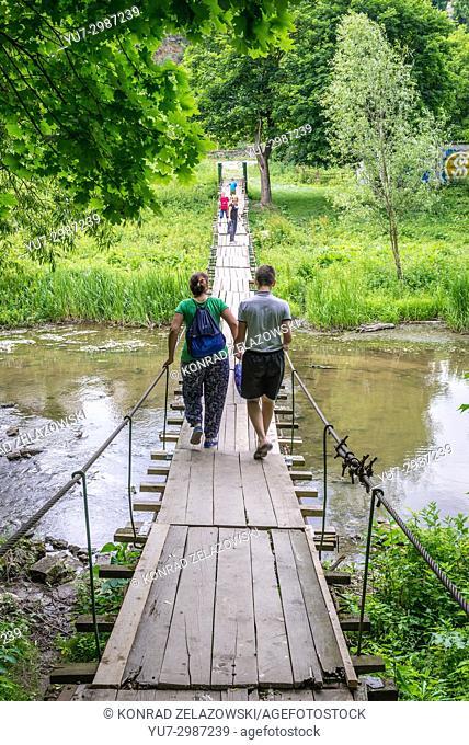 Suspended bridge over Smotrych River in Kamianets-Podilskyi city in Khmelnytskyi Oblast of western Ukraine