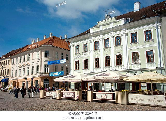 Houses at town hall square, Tartu, Estonia, Baltic states, Europe