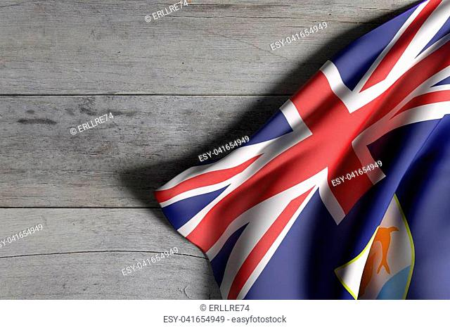 3d rendering of Anguilla flag over a wooden surface