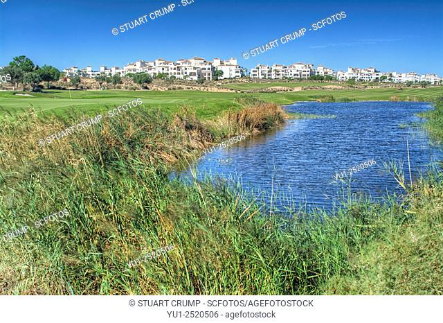 Water Hazard on the 11th hole at Hacienda Riquelme Golf Resort, Murcia, Spain