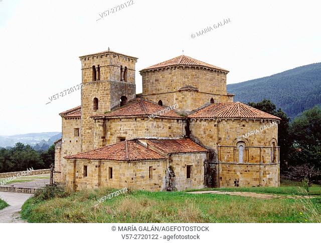 Romanesque collegiate church. Castañeda, Cantabria, Spain