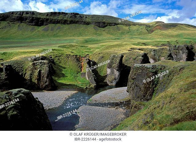 Fjadrargljufur gorge near Kirkjubær on the south coast, tuff, lava formations, Iceland, Europe
