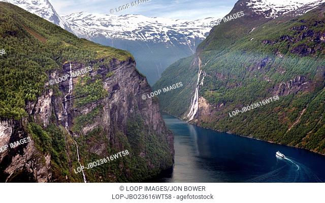 The magnificent Geiranger Fjord in the Sunnmore region of More og Romsdal county in Norway