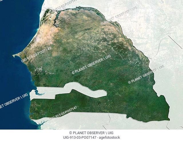 Satellite view of Senegal (with country boundaries and mask). This image was compiled from data acquired by Landsat satellites