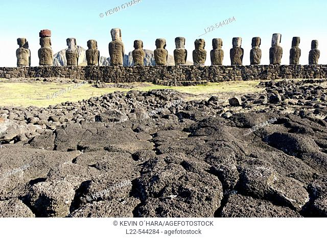 Ahu Tongariki. Fifteen huge Moai stand with their backs to the ocean. This Ahu was restored by archaeologists after it was completely destroyed in 1960 by a...