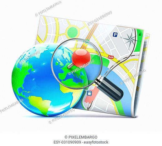 illustration of global navigation concept with city street map, blue glossy earth globe and magnifying glass over it